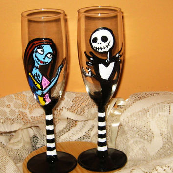 Nightmare Before Christmas/Jack and Sally/Jack skellington/Zombie/Skeleton/ Sugar Skull/ Wedding Champagne Flutes/Wedding Toast Glasses