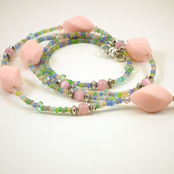 Beaded ID Badge Lanyard, Pink Matte Twist Beads, Pink Catseye, Pink Catseye, Rainbow Pastel Seed Beads