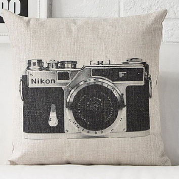 Black and White Vintage Camera Pillows, Cotton Linen Cushion,Decorative Cotton Linen Cushion Case,Throw Pillow Case,
