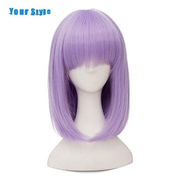 Your Style Short Straight Purple BOB Wig Cosplay For Party Costume Natural Hair Wigs With Bangs Synthetic High Temperature Fiber