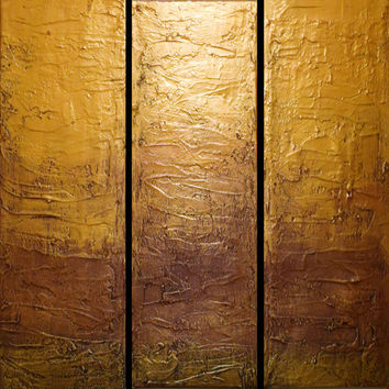 "EXTRA LARGE WALL art triptych 3 panel wall art "" Gold Triptych "" canvas original paintings on canvas abstract kunst Peintingu 48 x 48"""