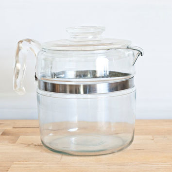 Pyrex Flameware 6 Cup Stovetop Teapot Percolator, Glass Handle, Flame Logo