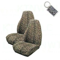 A Set of 2 Universal Fit Animal Print High Back Bucket Seat Covers and 1 Key Fob - Cheetah Tan