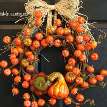 wreaths fall wreath autumn wreaths orange pumpkin front door wreath burlap ribbon Thanksgiving fall door wreaths outdoor wreaths