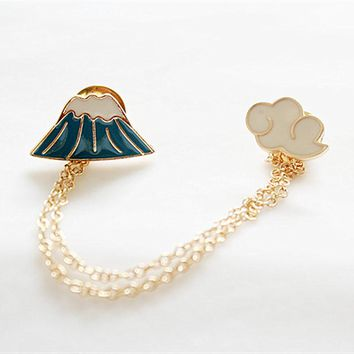 Br028 Mount Fuji Cloud Brooches for Women Scarf Party Suit Safety Pin Brooch Pretty Lady Fashion Jewelry