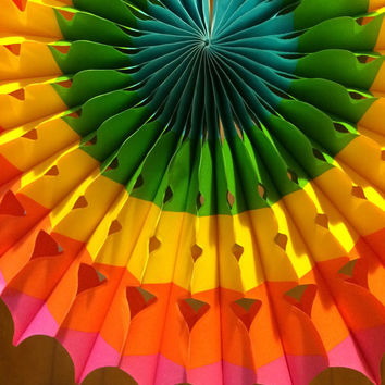 Tissue paper Fans // nursery decor // pomwheels // tea party decor // rainbow//childrens birthday// party decorations//Birthday Decoration