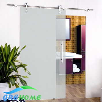 6.6 Ft Ss 304 Barn Glass Sliding Doors Hardware Closet System