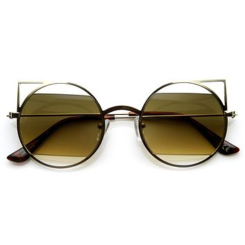 Women's Round Metal Laser Cut Cat Eye Sunglasses 9122
