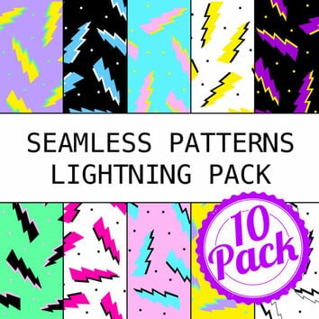 Printable Seamless Patterns - 90s Lightning Pack - Digital Scrapbook Paper