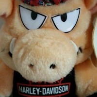 "1993 Harley Davidson Motorcycle Pig Hog Plush Biker 10"" stuffed animal doll toy"