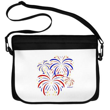 Patriotic Fireworks with Bursting Stars Neoprene Laptop Shoulder Bag by TooLoud