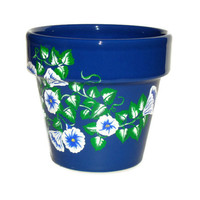 Blue Flower Pot/ Planter with Blue and White Flowers