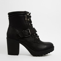 New Look | New Look Cookie Black Lace Up Boots at ASOS