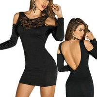 Sexy Black Open Shoulder Low Back Long Sleeve Dress