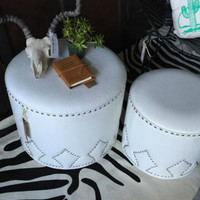 Small White Studded Ottoman