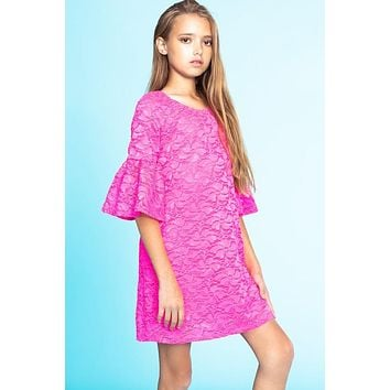 2019 Valentines Spring Girls' Floral Lace Bell Sleeve Dress. Fully lined