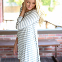 Top of the Line High Low Dress -Grey and Ivory