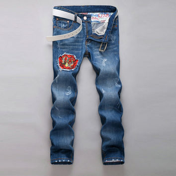 Ripped Holes Korean Casual Pants Slim Jeans [6541773379]