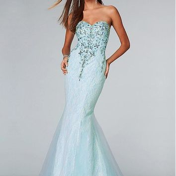 [151.00] Unique Lace Sweetheart Neckline Floor-length Mermaid Prom Dress - dressilyme.com