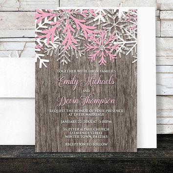 Rustic Winter Wedding Invitations - Country Rustic Winter Wood Pink Snowflake - Snowflake Wedding Invitations - Printed