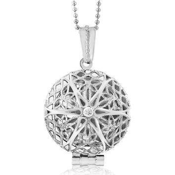 """Locket Pendant Necklace Charm 1"""" Round Shape Engraved Filigree with 28"""" Chain"""