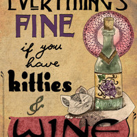 Kitties & Wine - PAPER PRINT, wine poster, typographic print, cats wine, kitchen decor, cat lover gift