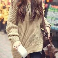 Beige Hooded Long Knit Sweater