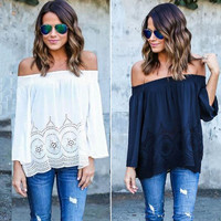 Off Shoulder Strapless Long Sleeve Tops Blouse Beach Shirts