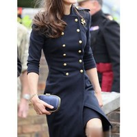 Dark Blue Blends Slim Fit Double-Breasted Stand Collar Women Outfit S/M/L@HX1523db