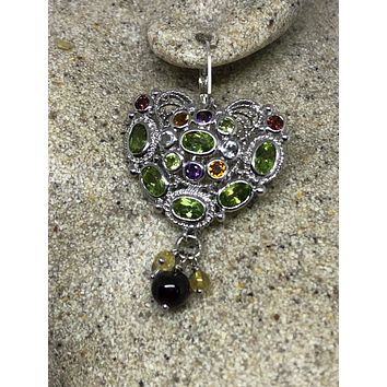 Vintage Handmade Sterling Silver genuine green peridot and mixed gemstone heart earrings