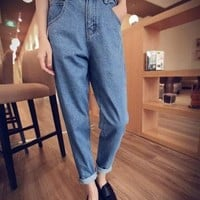 Blue Pockets Boyfriend Slacks High Waisted Mom Casual Long Jeans