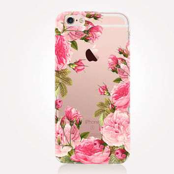 Transparent Pink Roses iPhone Case - Transparent Case - Clear Case - Transparent iPhone 6 - Samsung S7  Gel Case Soft TPU Case - iPhone SE