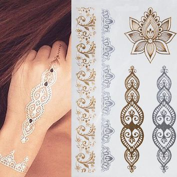 1PCS New Indian Arabic Designs Golden Silver Flash Tribal Henna Tattoo  Metali Temporary Tattoos sticker on body hand