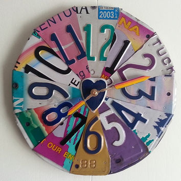 The Girl License Plate Clock - Pink, Purple, Hearts and Rainbows