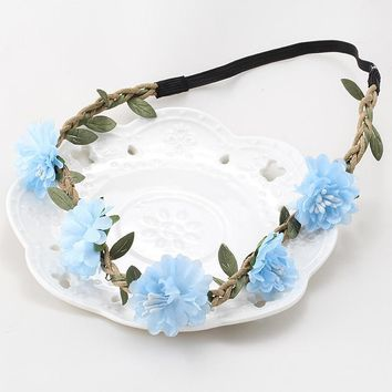 Summer Bohemia Handmade Headband Flower Crown Wedding Wreath Bridal Hair Accessories Hair band for Women Lady Girls Garland Band