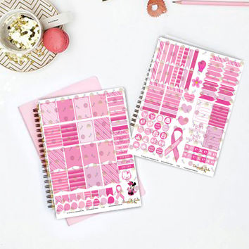 50% OFF Sale! DIY Fight Like A Survivor Pink Printable Planner Mini Kit 125 Stickers pdf and 2 jpeg Erin Condren Life Planner Kikkik Filofax