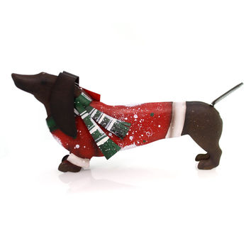 Christmas Dachshund Sweater Dressed Christmas Figurine