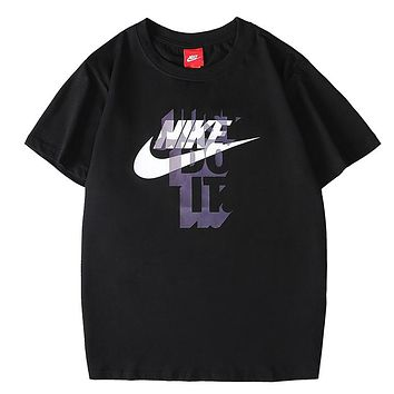 NIKE Just Do It Summer New Fashion Hook Letter Print Women Men Leisure Top T-Shirt Black