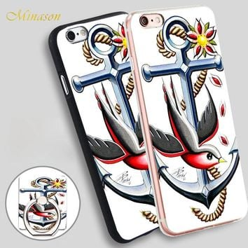 Minason Anchor Tattoo Ideas and Meanings Mobile Phone Shell Soft TPU Silicone Case Cover for iPhone X 8 5 SE 5S 6 6S 7 Plus