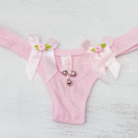 DDLG Pink Jingle Bells Kitten Thong Lingerie Bow Rose Baby Kitty Daddys Little Girl Babygirl Pet Play Petplay BDSM abdl Master Submissive