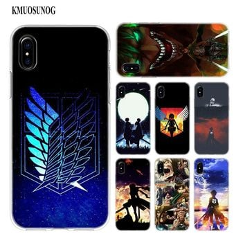 Cool Attack on Titan Transparent Soft Silicone Phone Case anime  Style for iPhone XS X XR Max 8 7 6 6S Plus 5 5S SE AT_90_11