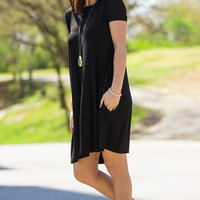 The Perfect Piko Short Sleeve Swing Dress-Black – Simply Dixie Boutique