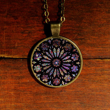 Rose Window Necklace Gothic Lolita Necklace Stained Glass Pendant Rose Window Pendant Cathedral Necklace Lolita Pendant Gift for Artist