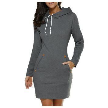 Sporting Women Autumn plus Size Elegant Bodycon Wrap Ladies Hooded Long Sleeve Jumper Mini Dress