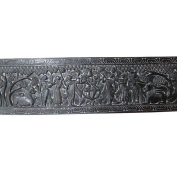 Indian Carving Sculptures Wall Panel Radha Krishna Raas Wood Antique Headboard