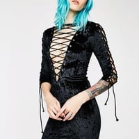 Velvet Crushin' Lace-Up Dress
