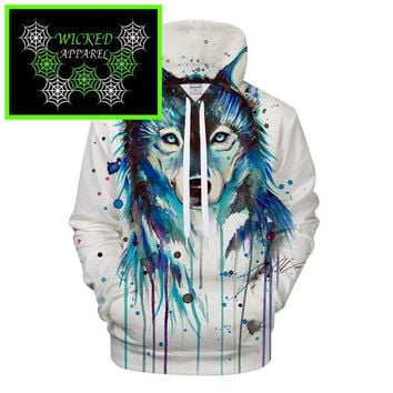 Wicked Apparel Ice Wolf Hoodie by Pixie cold #328