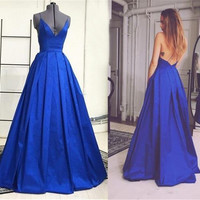 Royal Blue Sexy Long Evening Dresses Deep V Neck A-line Backless Women Formal Evening Wear Spaghetti Straps Simple Evening Gowns