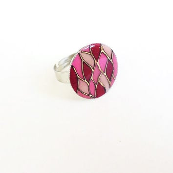 Hand painted Ring Pink Mosaic dark pink light pink Adjustable ring