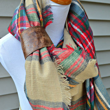 Cozy Plaid scarf, Warm Winter Plaid Scarf, warm scarf